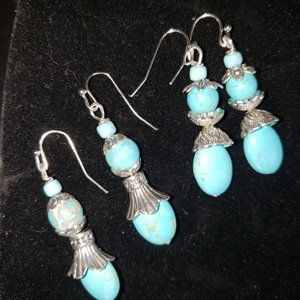 Turquoise, Jasper, Sterling Silver Earrings